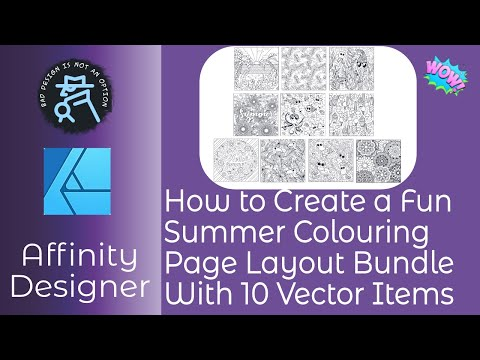 How to Create a Fun Summer Colouring Page Layout Bundle With 10 Vector Items For Your Craft Work